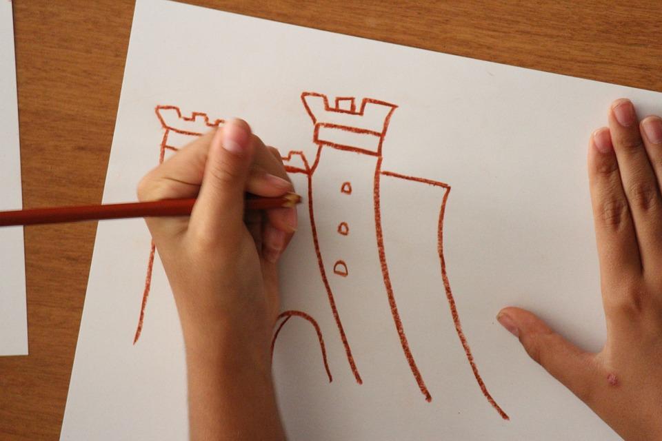 Castle, Drawing, Childhood, Children, Fantasia, Torre