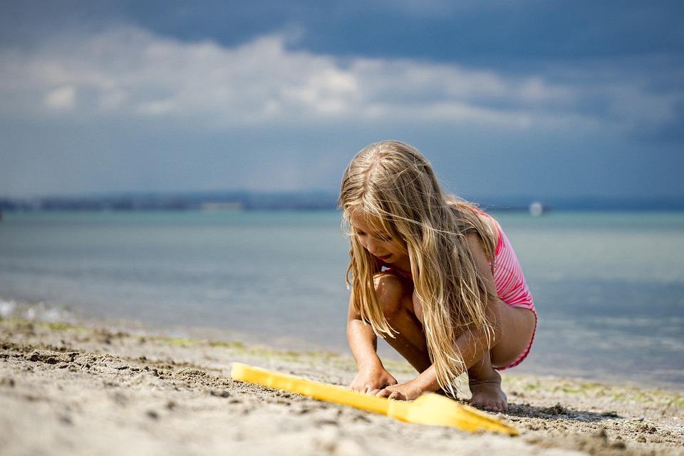 Kid, Beach, Sand, Play, Playing, Child, Girl, Childhood