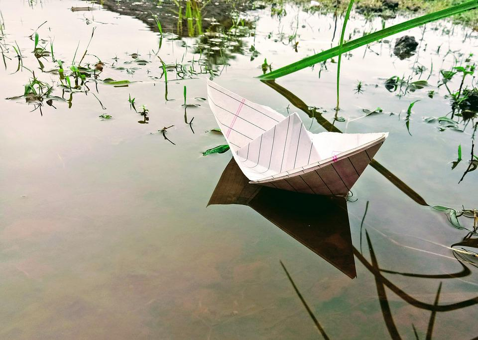 Childhood, Paper Boat, Simple, Paper, Water, Ship