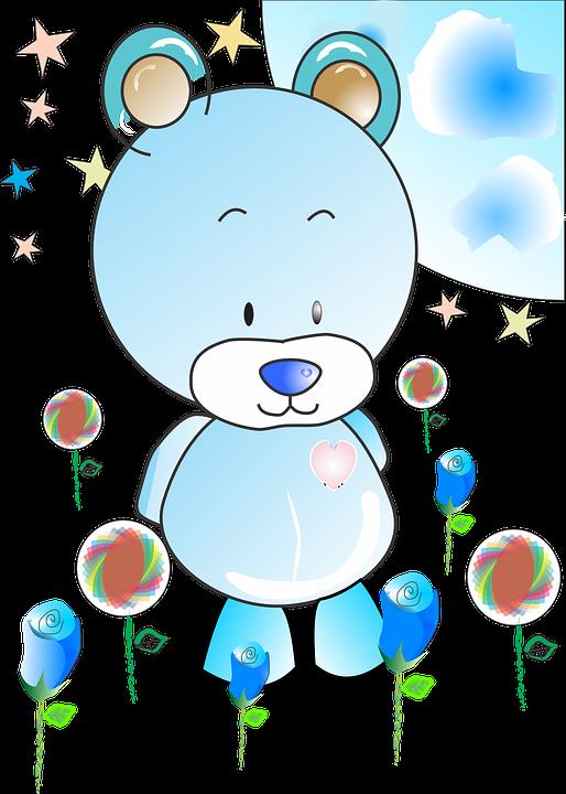 Bear, Blue, Toy, Children