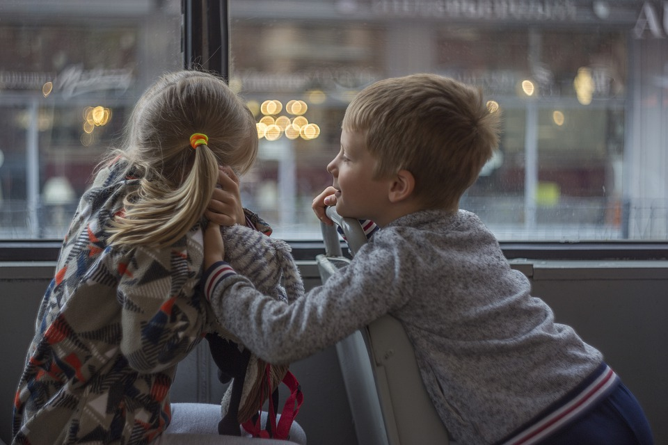 Children, Boy, Girl, Bus, Happy