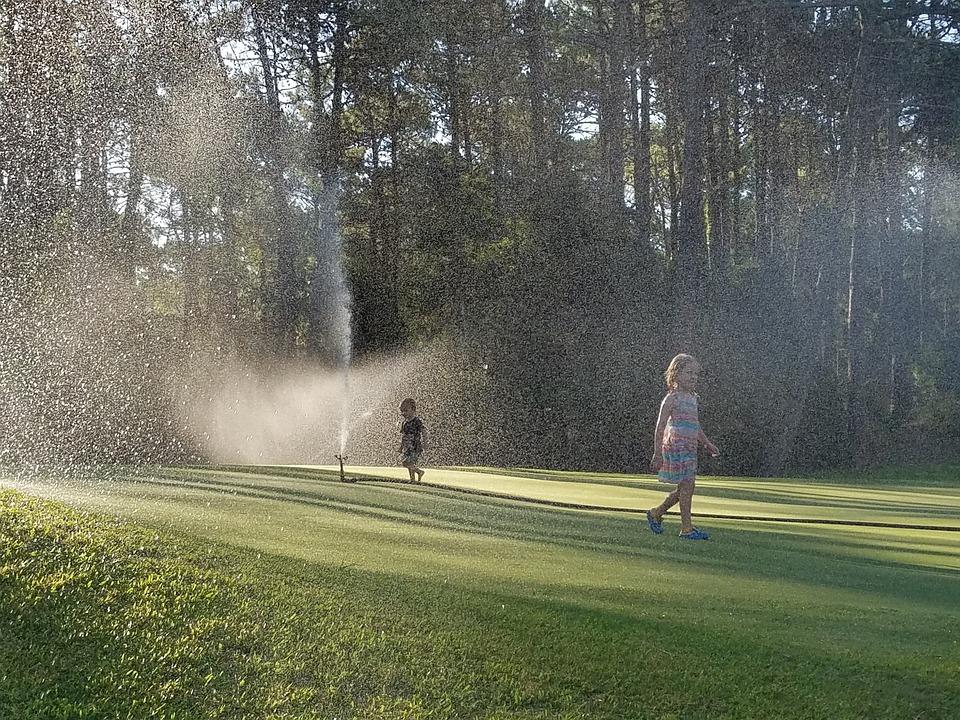 Children, Sprinklers, Playing, Golf