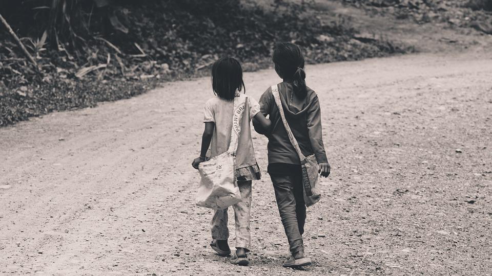 People, Kids, Girls, Children, Walking, Road