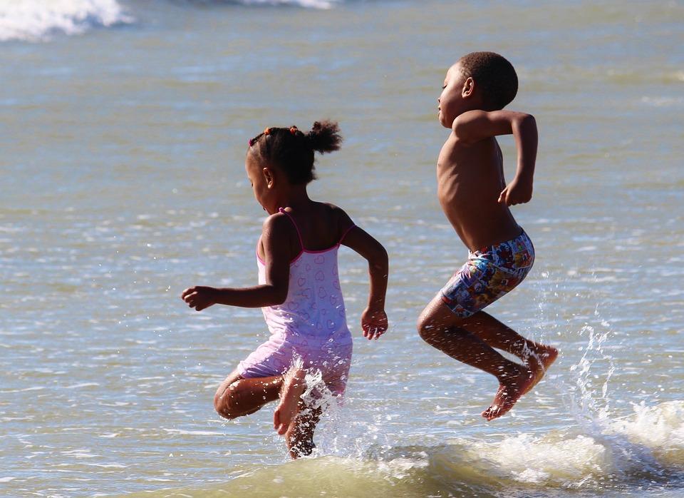 Children, Play, Beach, Water, Sea, Fun, Jump