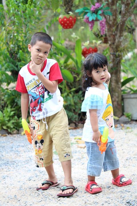 Thai Kids, Girl, Boy, Play, Game, Watergun, Children