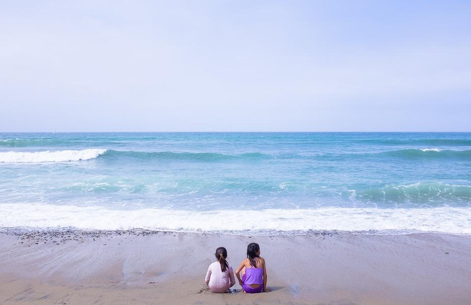 Sisters, Girls, Beach, Water, Children Playing