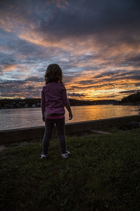 Sunset, Child, Girl, Water, Sky, Children Silhouette