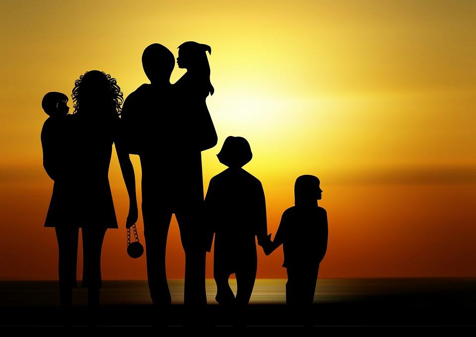 Family, Children, Sunset, Silhouette