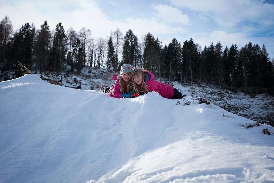 Children, Girl, Winter, Snow, Out, Nature, Friends