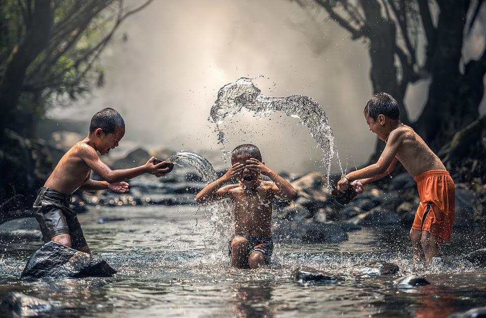 Children, River, Water, The Bath, Splash, Boys