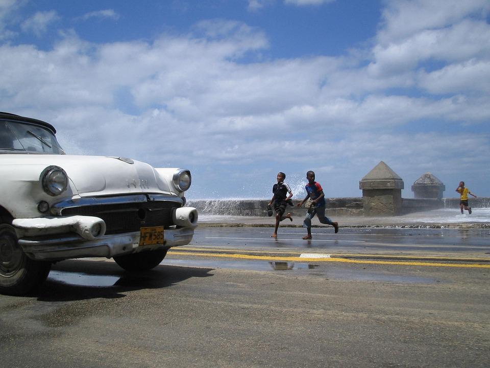 Cuba, Surf, Malecon, Auto, Children, Havana, Caribbean