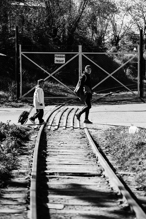 Black White, Pathways, Train, Children