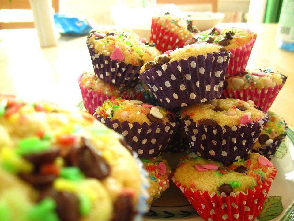 Muffins, Colorful, Baked, Children's Birthday, Children