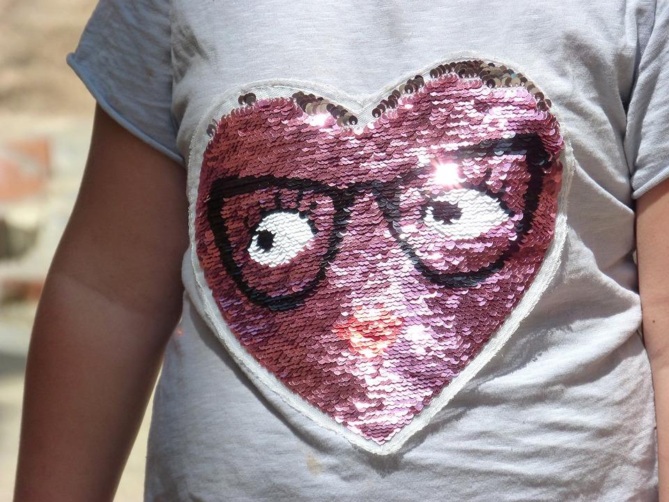 Children's Fashion, T-shirt, Sequin, Heart
