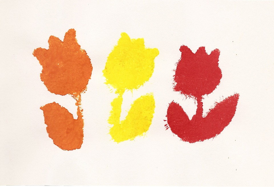 Flowers, Drawing, Child's Drawing, Mark, Red, Yellow