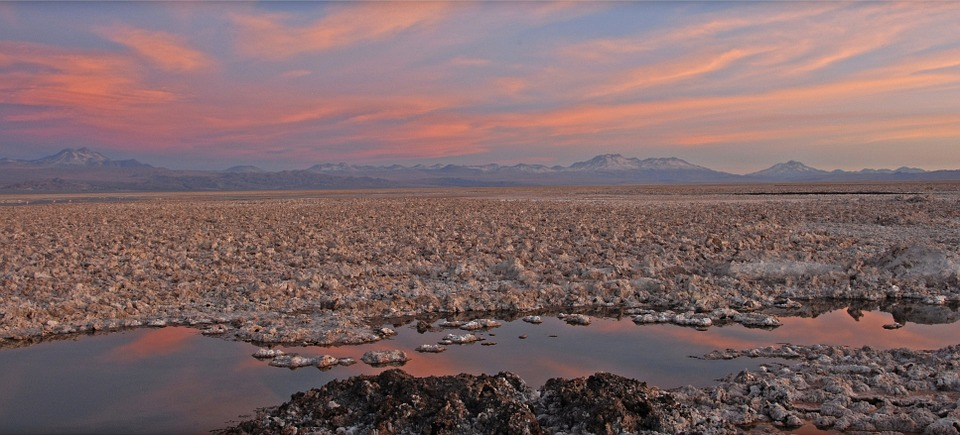 Chile, Salt Lake, Sun, Sunset, Salar De Atacama