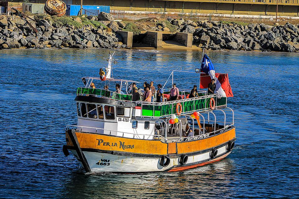 Boat, Chile, Sea, Baron Dock, Sky, Hills