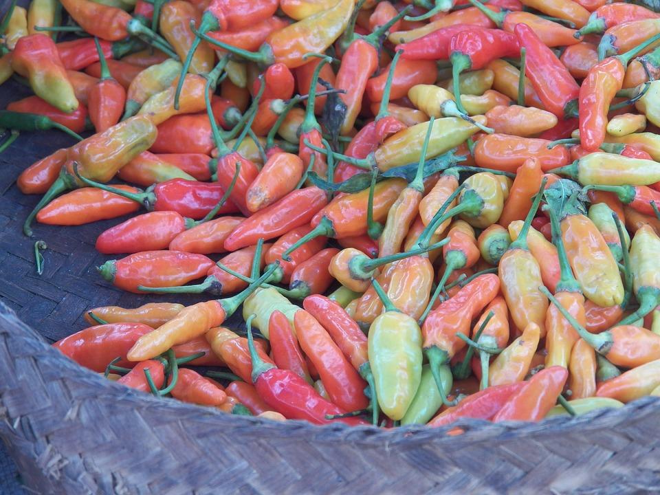Chili Pepper, Red, Market, Asia