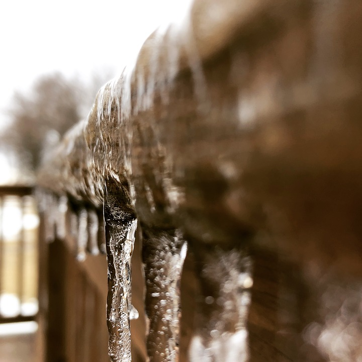 Ice, Icy, Ice On Railing, Ice Storm, Cold, Chilly