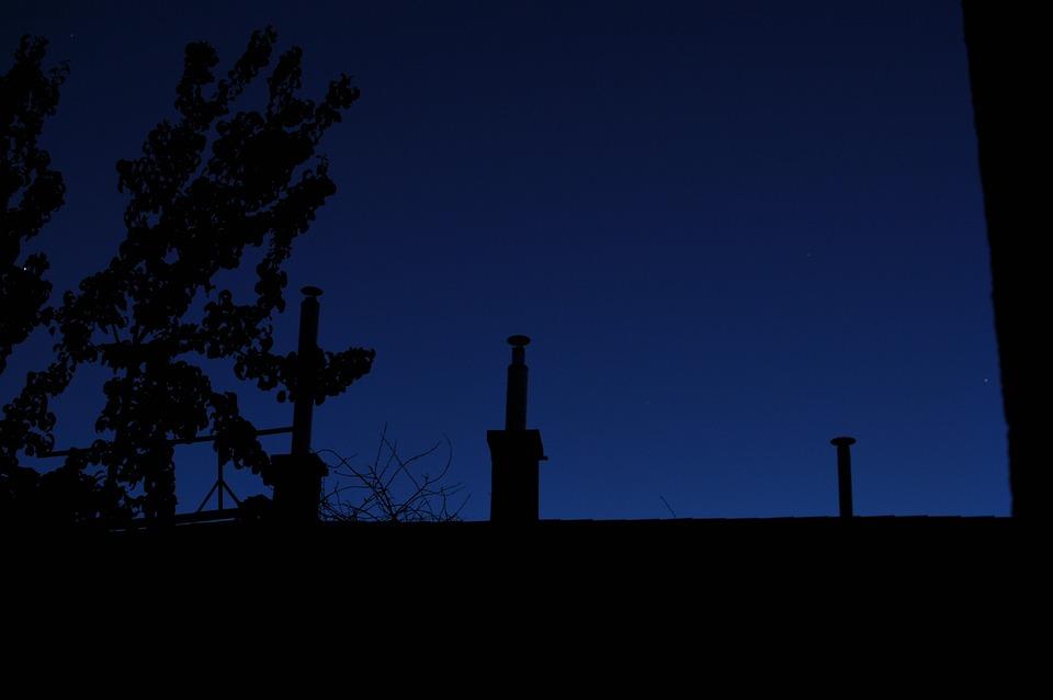 Chimney, Dark, At Night, Nightfall