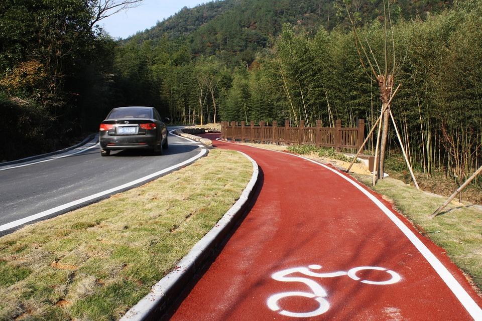 Bike Path, Road, Bike Road, China, Countryside