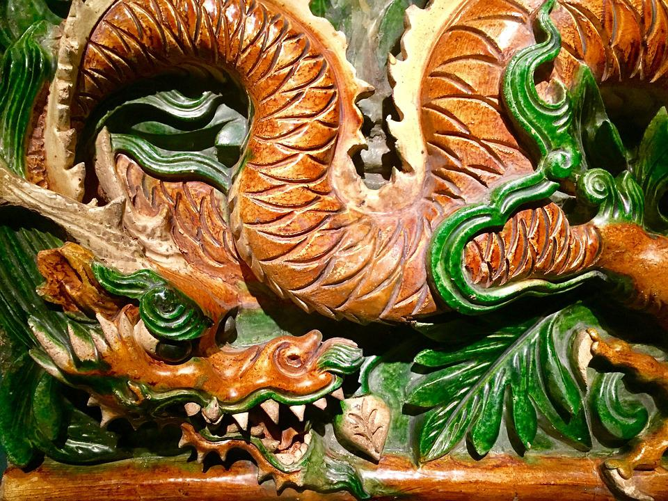 Dragon, China, Ceramic, Chinese, Asia, Traditional
