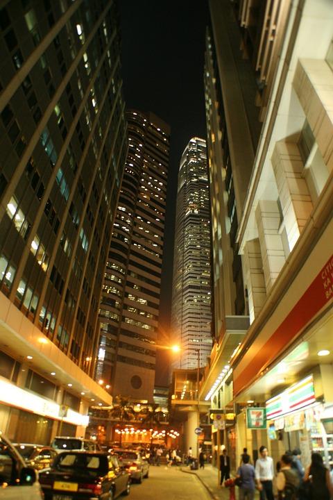 Hongkong, Night View, Street, City, China, Urban
