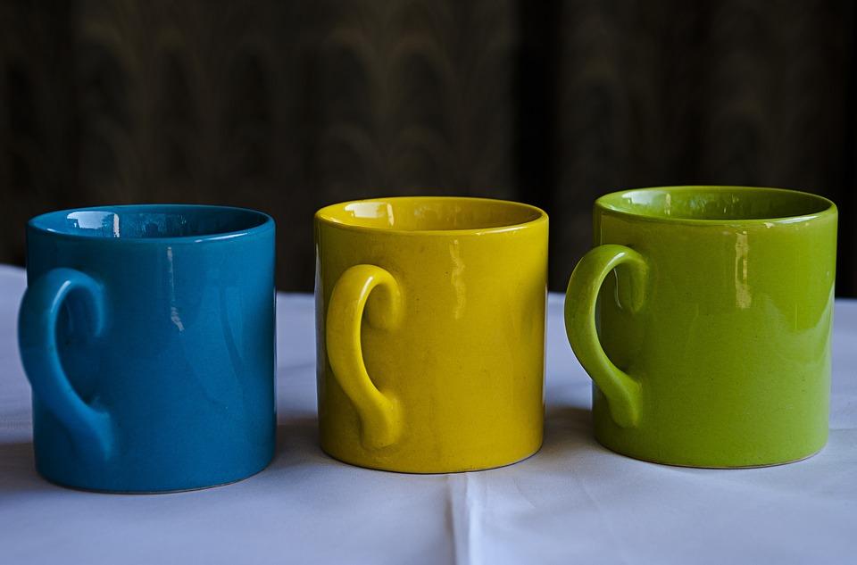 Mugs, China Clay, Chinaware, Cup, Blue, Green, Yellow