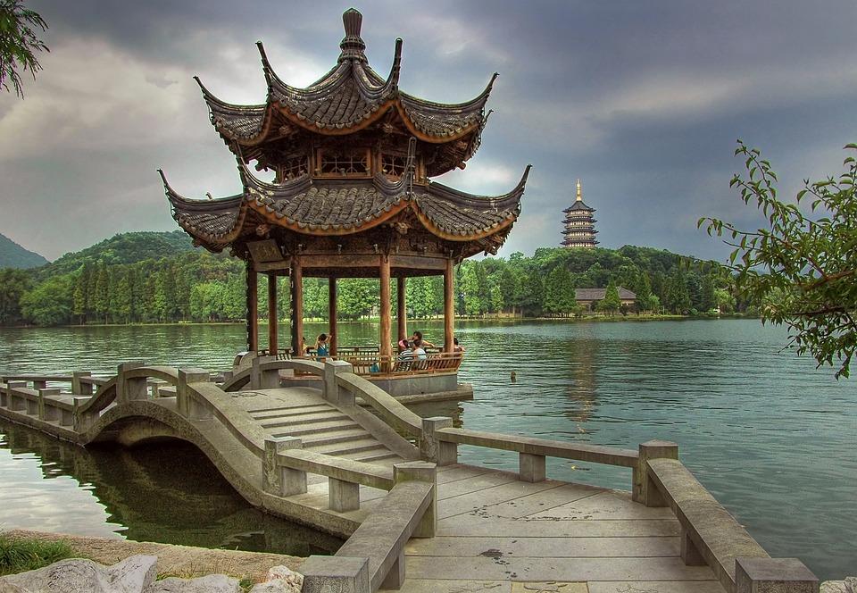 Hangzhou, China, Lake, Bridge, Architecture