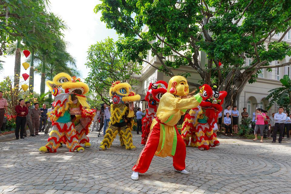 Jump, Lion, Year, Maymắn, China, Tet, New Year
