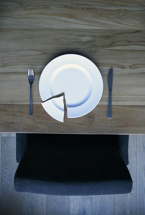 Broken Plate On A Wooden Table, Plate, China