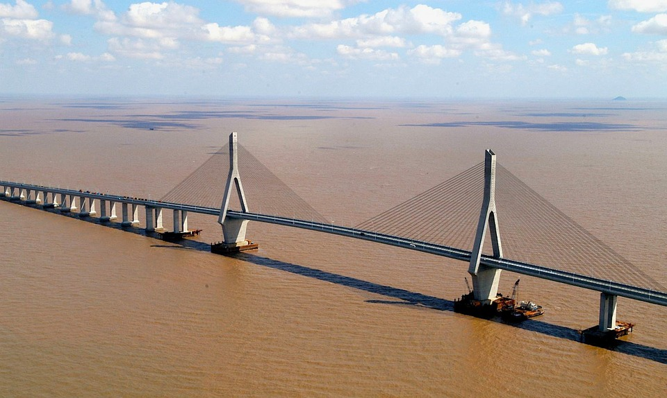 China, River, Water, Bridge, Span, Suspension, Vehicles