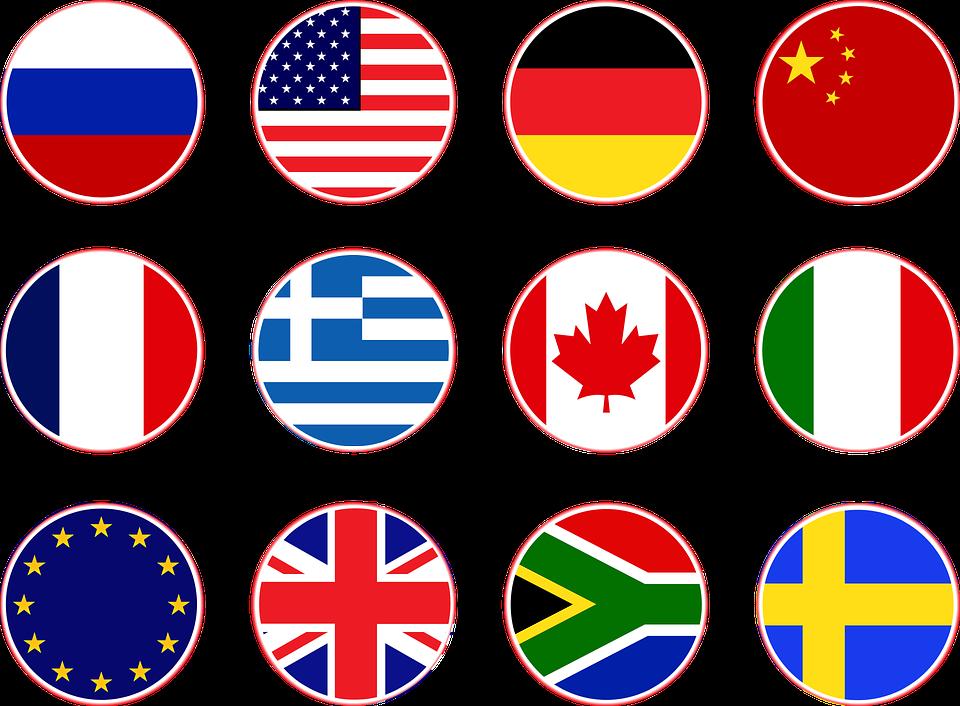 Flags, Russia, Usa, Germany, China, France, Greece