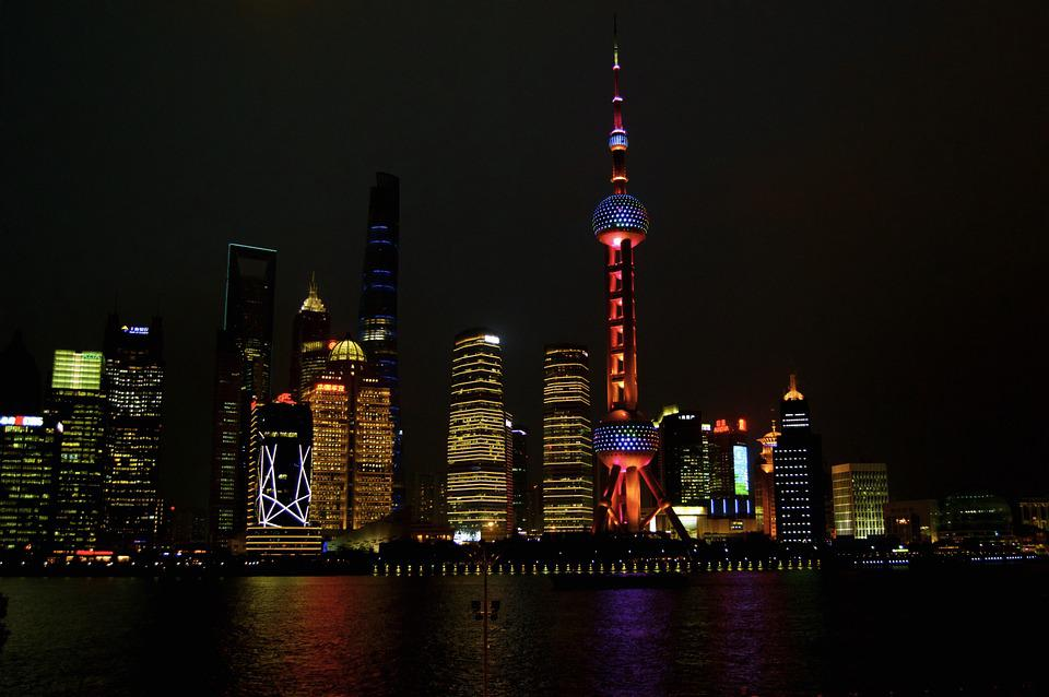 Skyscraper, Shanghai, China, Lights, Night