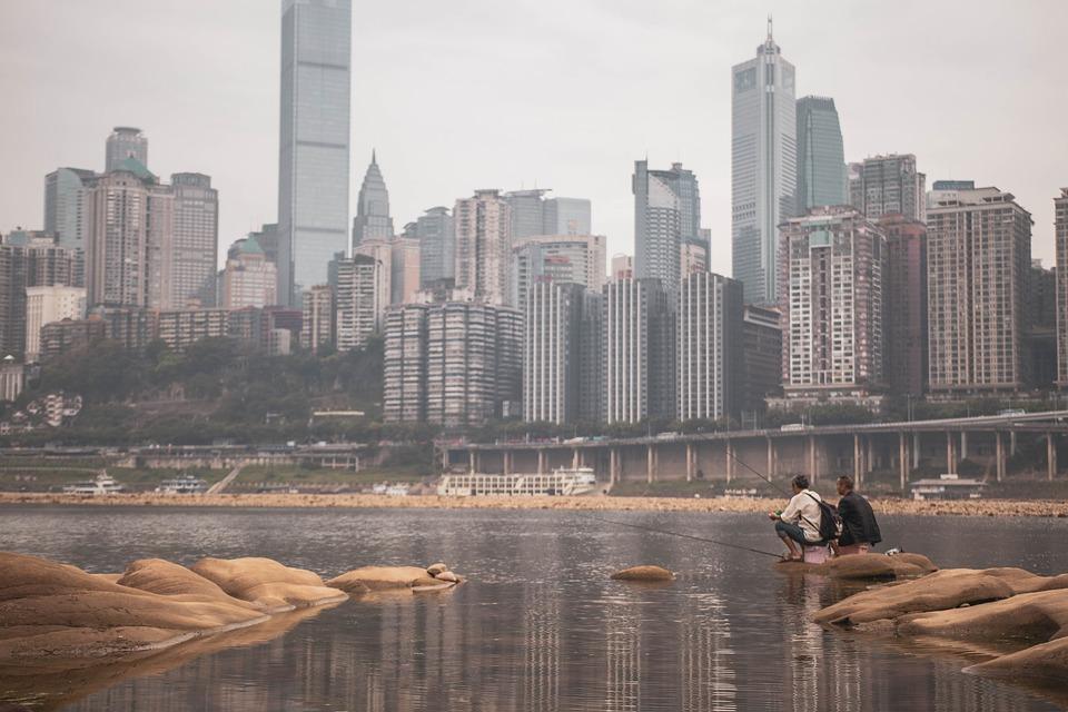 Fishing, City, Chongqing, Architecture, China, Travel