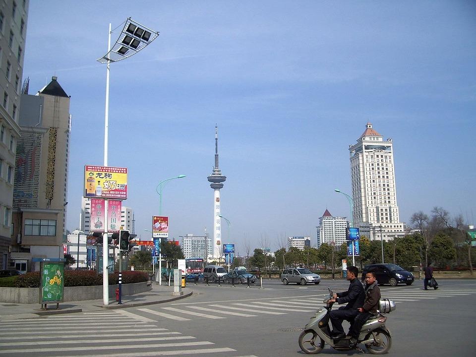 City, Street, China, Tv, Tower, Motorbike, People