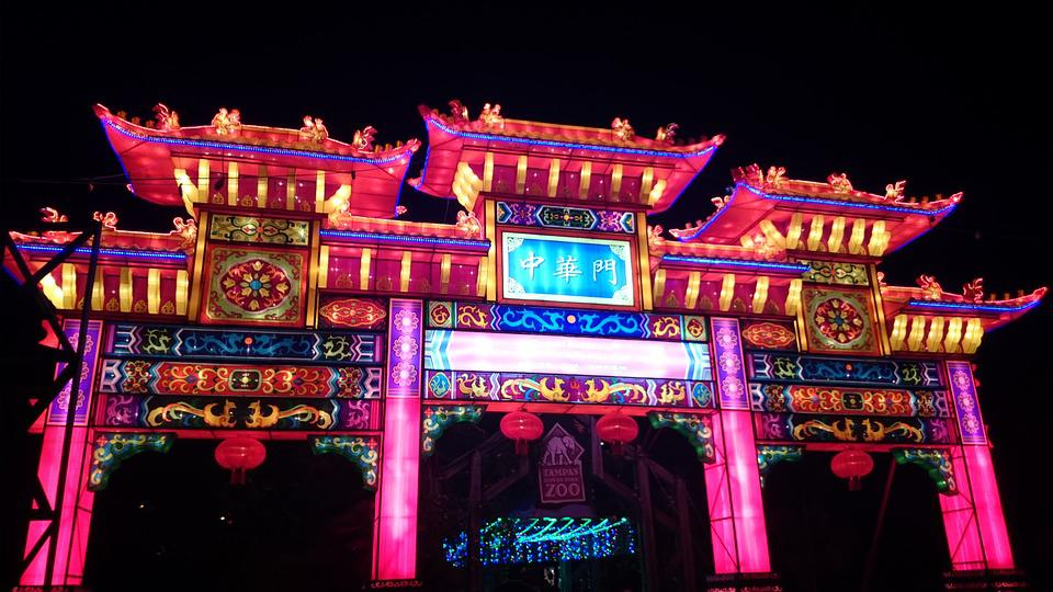 Chinese, Tampa, Florida, Night, Lights, Architecture