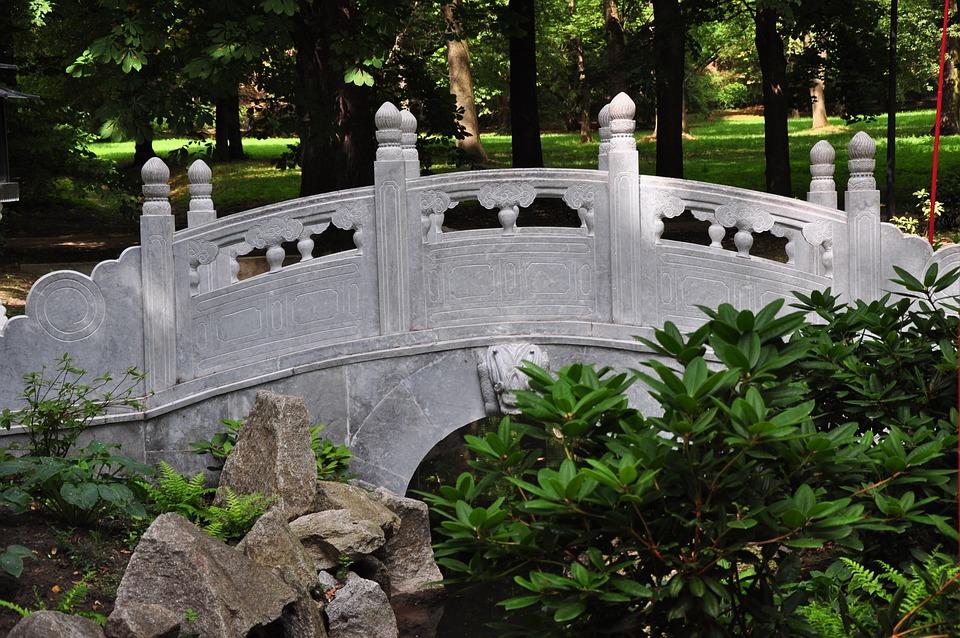 Poland, Warsaw, Park, Bridge, Chinese Garden