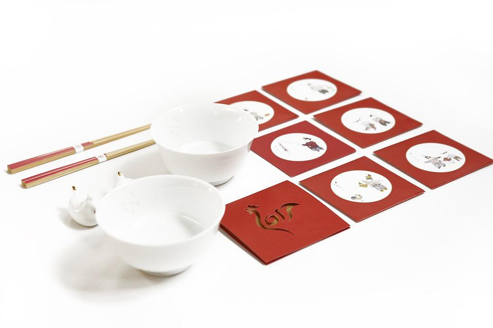 New Year's Day, Chinese New Year, Bowl, Red, Chopsticks