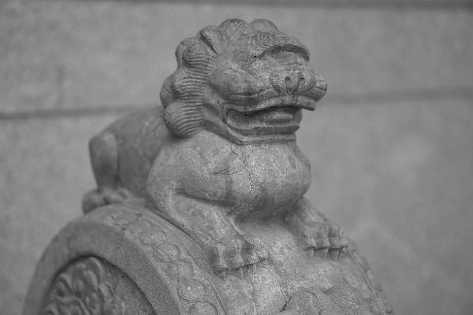 Lion, Stone Lion, Chinese Style, Statue, Stone Drum