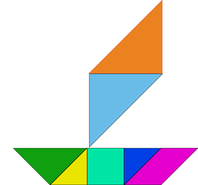 Shapes, Puzzle, Chinese, Game, Tangram, Boat, Sail Boat