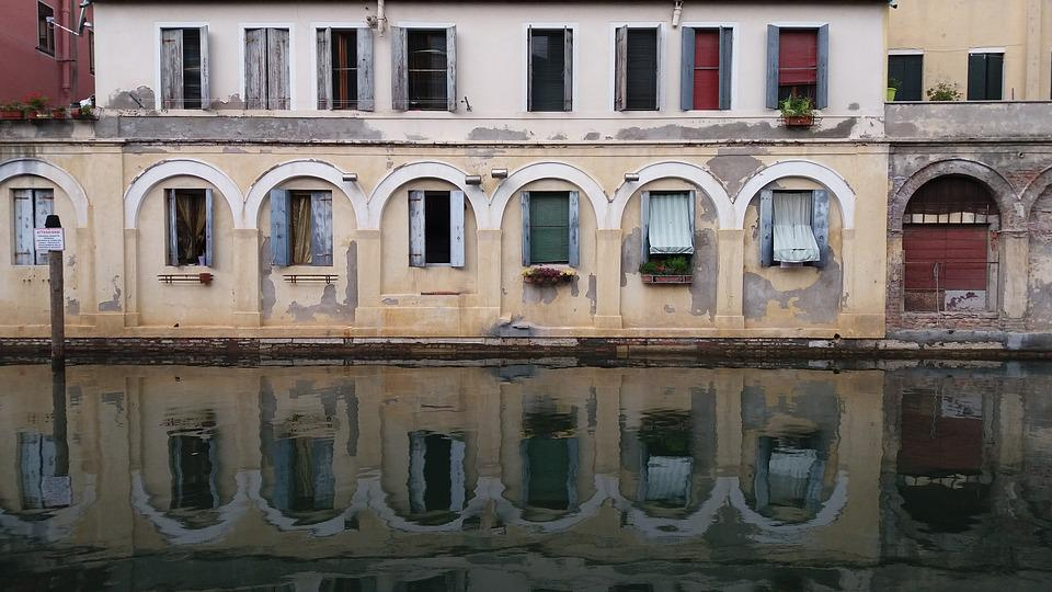 Chioggia, Venice, Italy, Channel, Old Houses, Monument