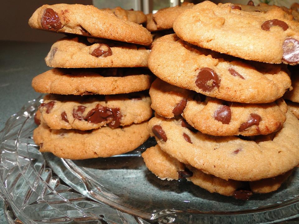 Cookies, Chocolate Chip, Food, Dessert, Stacks