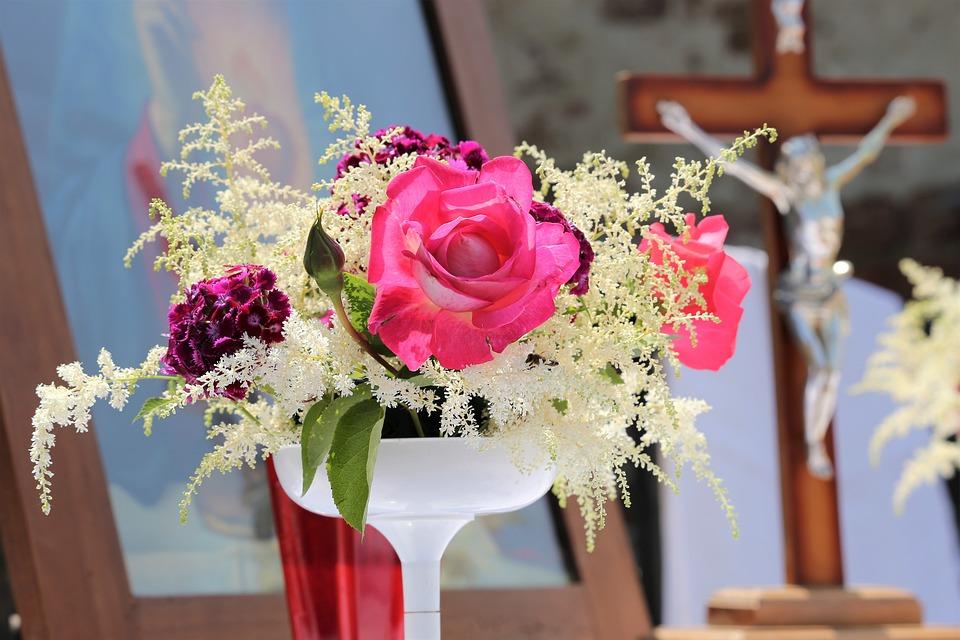 Corpus Christi Feast, Red Roses, Church, Christian