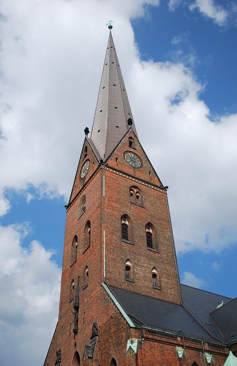 Hamburg, Germany, Church, Steeple, Christian, Europe