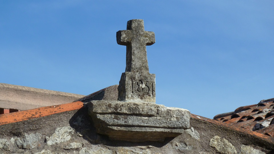 Cross, Rooftop, Stonework, Stone, Building, Christian