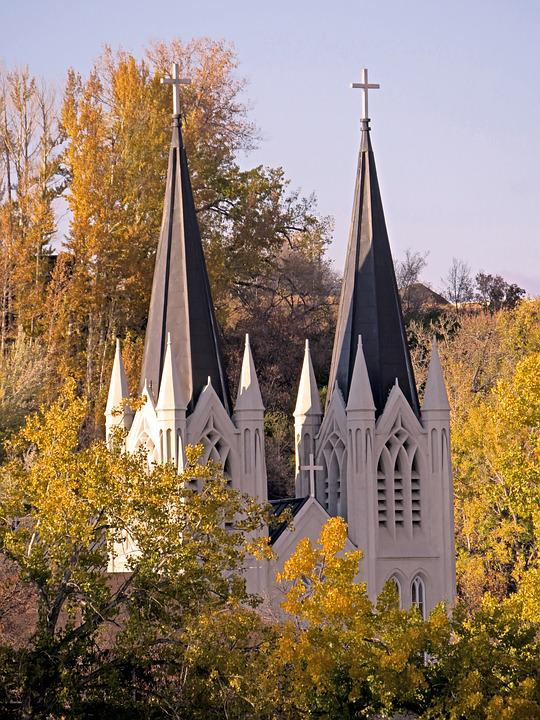 Church, Steeple, Trees, Architecture, Christianity