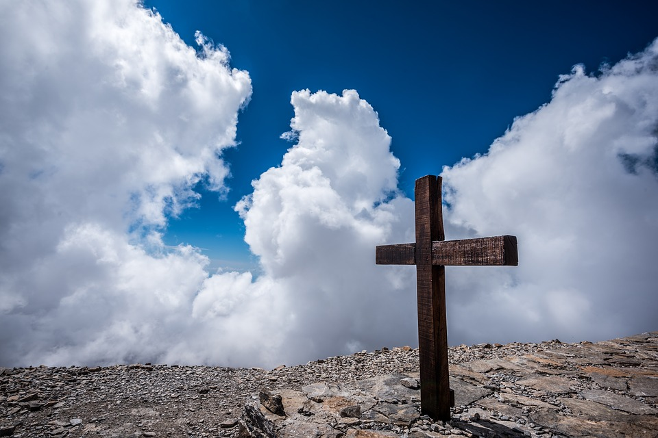 Christianity, Clouds, Cross, Outdoors, Rocks