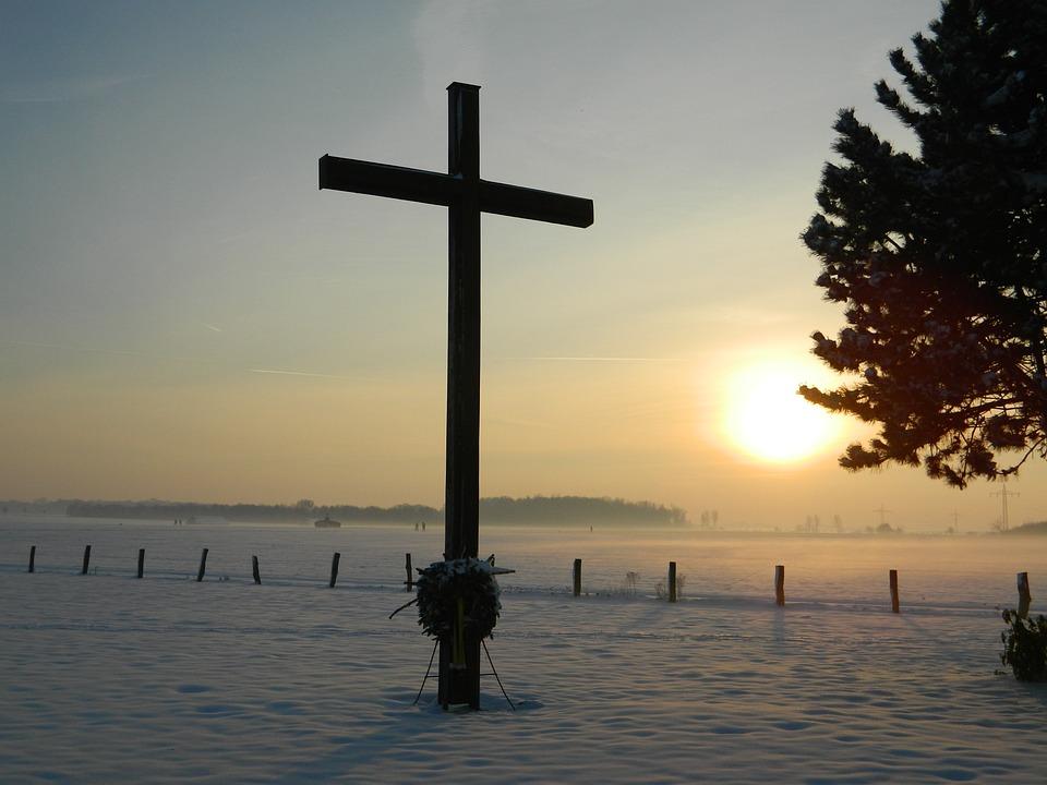 Cross, Christianity, Mourning, November, Winter, Snow