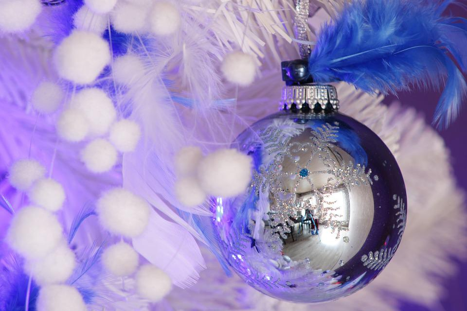 Christmas Background, Blue, Christmas Tree, Decoration